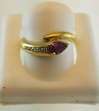 18KT YELLOW GOLD SNAKE RING WITH BURMESE PEAR SHAPE RUBY AND 5 DIAMONDS
