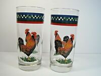 """Pair of 2 Beautiful Juice Glassese With Hand paited Roosters 6 1/4"""" Tall"""