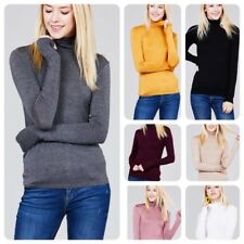 Women Long Sleeve  T-Shirt Slim Fit Turtle neck Pullover High Tops Casual- USA