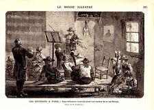 GRAVURE SUR BOIS 19ème LES PIFFERARI A PARIS EDUCATION DANS UNE MAISON RUE MONGE