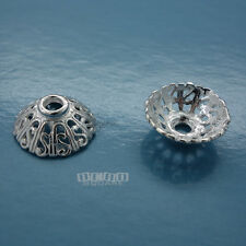 2PC Large Sterling Silver Filigree Scroll Round Bead Cap ap. 5mm x 14mm #33044