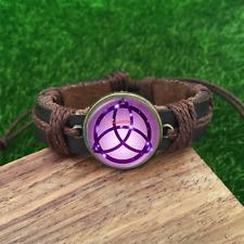 Wicca pendant pentagram Brown Glass leather & chord Bracelet charm-unisex