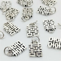 4pcs of 925 Sterling Silver China Double Happiness Charms Pendants