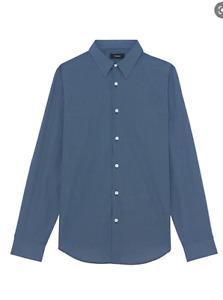New THEORY Men Blue Slim Stretch Cotton Button Front Dress Shirt Sz  L $195