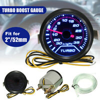 52mm Turbo Boost Pressure Pointer Gauge Meter Dials Smoked 30Psi LED -/