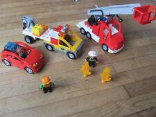 DUPLO @@ Lot Camion de Pompiers / Dépanneuse et Voiture + 3 personnages @@  TBE