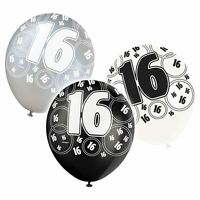 16th Birthday Party Decorations Balloons Black Silver Ivory celebrations 6pcs