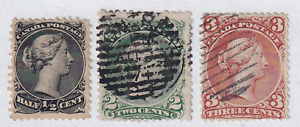 Canada 1868 Large Queen Stamps #21 (MNG) and 24-25 (Used)
