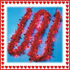 Valentine's Day Red Tinsel Lighted Heart Garland 9 Feet (New in Box) - Free Ship