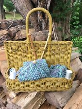 Vintage Antique Yellow Painted Wicker Knitting or Sewing Basket