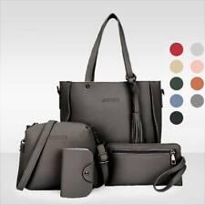 4Pcs Women Tassel Leather Handbag Tote Shoulder Messager Bag Satchel Bucket bags
