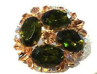 Bijou alliage doré broche intemporelle rosace cristal vert  brooch