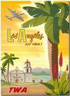 "Cool Retro Travel Poster *FRAMED* CANVAS ART Los Angeles TWA yellow 18x12"""