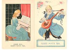 Lot: 2 Vintage Adina Sand Musical New Year Postcards Lady Piano/ Gent Guitar