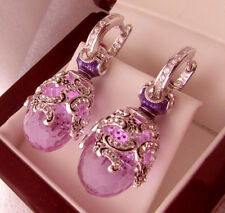 EXQUISITE  EARRINGS STERLING SILVER 925 with AMETHYST and ENAMEL