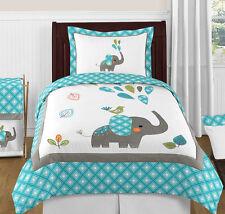 Sweet Jojo Designs Teal Grey Jungle Elephant Twin Girl Boy Bedding Comforter Set