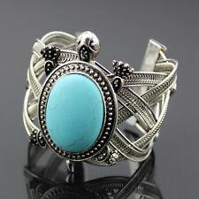 Boho Vintage Tibetan Silver Sea Turtle Turquoise Open Wide Bangle Cuff Bracelet