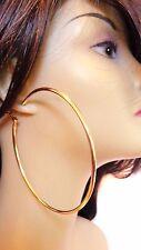 LARGE HOOP EARRINGS SOLID HOOP EARRINGS GOLD OR SILVER TONE 3 INCH ROUND HOOPS