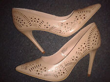 NEW Womens Laser cut Gold Beige High Heel Leather Party Race Cruise Shoes 8 42