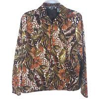 Laura Ashley Medium Jacket Brown Floral Cotton Stretch Lined Full Zip Blazer