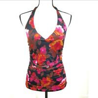 Shape Benefits by Chadwicks Floral Ruched Swim Tankini Top Tie Neck Size 12