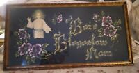 "Vintage Polish Religious Painting on Velveteen ~ ""God Bless Our Home"""