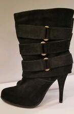 EUC Joie Black Suede High Heel Buckle Strap Booties Boots Sexy sz 35.5  5.5 US