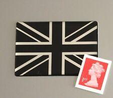 Union Jack Flag Sticker Domed Finish Black & Chrome 50mm