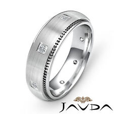 Princess Diamond Eternity Wedding Mens Solid Band 14k White Gold Ring 0.40Ct