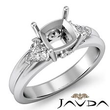 3 Stone Fine Diamond Trillion Cushion Mount Engagement Ring 14k White Gold 0.6Ct