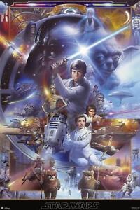 Star Wars Poster 20th Anniversary - Luke Skywalker Yoda Han Solo - 61 x 91,5 cm
