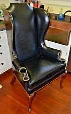STUNNING!! Vintage HERITAGE by Drexel Black Leather Wing Back Chair -USA