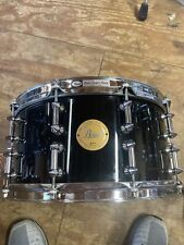"""PEARL Maple Black Lacquer Limited Edition Snare Drum 14""""x7"""" Spiked Lugs"""