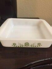 """New ListingGlasbake Casserole Dish J2428 1 Qt Green Daisy Milk Glass Oval 10"""" Vintage/ L@K"""