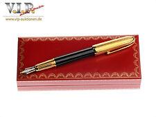 Cartier LOUIS stilografica BLACK LACQUER GOLD-FINISH fountain pen stylo plume