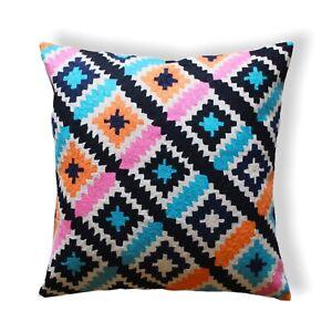 Decorative Handmade Wool Geometric Pattern 50x50 Cm Multicolour Cushion Cover