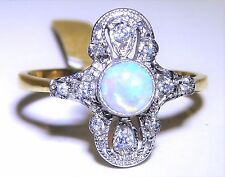 ART DECO STYLE GOLD OVER SOLID SILVER OPAL CABOCHON CLUSTER RING - size O 1/2