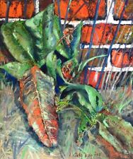 """NEW ORIGINAL PETE DAVIES """"Up the Garden Wall"""" flower flowers OIL CANVAS PAINTING"""
