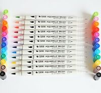 STA Twin Brush Pens 0.4mm - 2.0mm 12 Colours Aquarelle Water Based Dual Tips UK!
