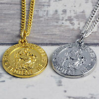 """Gold or Silver Plated St Christopher Pendant on Italian Curb Chain 16"""" to 40"""""""