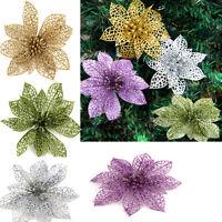 "2x 6"" Christmas Flowers Xmas Tree Decor  Glitter Hollow Wedding Party Decor JX"