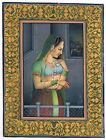 Miniature Portrait Of Mughal Queen Gouache - Natural Stone Color On Paper
