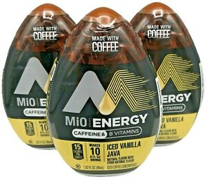 3 Mio Energy Iced Vanilla Java W/ Coffee 1.6oz Each Expired 09/2020 Discontinued