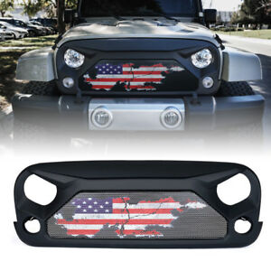 Xprite Gladiator Grille Steel Mesh w/ U.S. Flag for 2007-2018 Jeep Wrangler JK