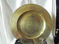 Vintage Chinese Hand Cast Brass Plate Decorated with Dragons