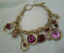 Liz Claibourne Signed Lc Bracelet Beaded gold and pink