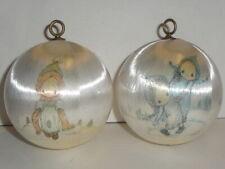 2 Vintage Hallmark Satin Ball Ornament Lot Betsey Clark - Christmas 1975 - White