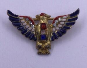 VINTAGE - WW II ENAMEL EAGLE - RED / WHITE / BLUE CORO CRAFT - STERLING PIN (A34
