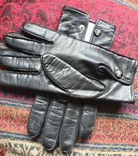 Mens Black Leather English made gloves size M, press stud wrist, fleece lined.