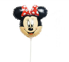 20pcs Red Minnie Mouse Balloons Foil Balloon with Stick Birthday Party Decor